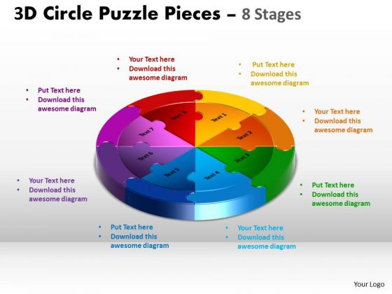 Business Framework Model 3d Circle Puzzle Diagram 8 Stages Business Diagram