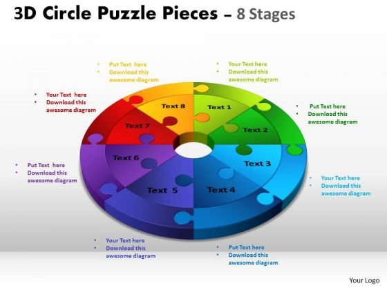 Business Framework Model 3d Circle Puzzle Diagram 8 Stages Slide Layout Business Diagram