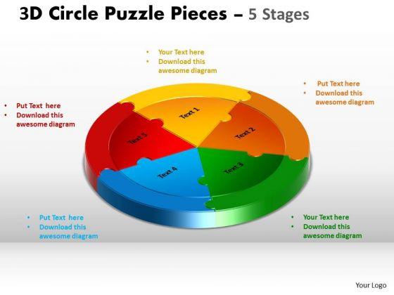 Business Framework Model 3d Circle Puzzle Templates Diagram 5 Stages Sales Diagram