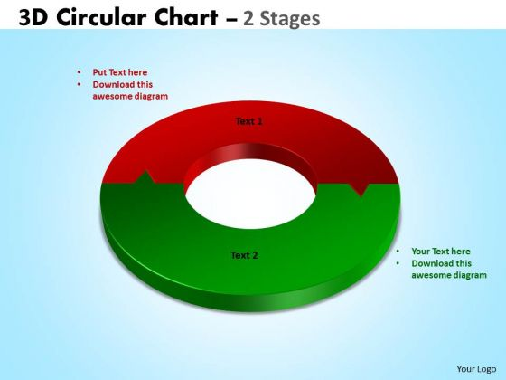 Business Framework Model 3d Circular Diagram Chart 2 Stages Marketing Diagram