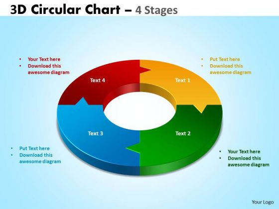 Business Framework Model 3d Circular Diagram Chart 4 Stages Business Diagram