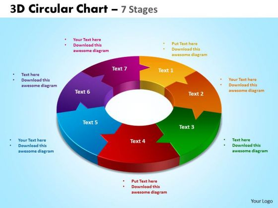 Business Framework Model 3d Circular Diagram Chart 7 Stages Sales Diagram