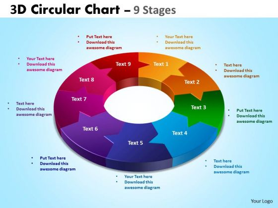 Business Framework Model 3d Circular Diagram Chart 9 Stages Sales Diagram