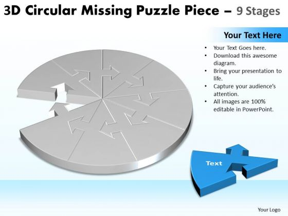 Business Framework Model 3d Circular Missing Puzzle Piece 9 Stages Marketing Diagram
