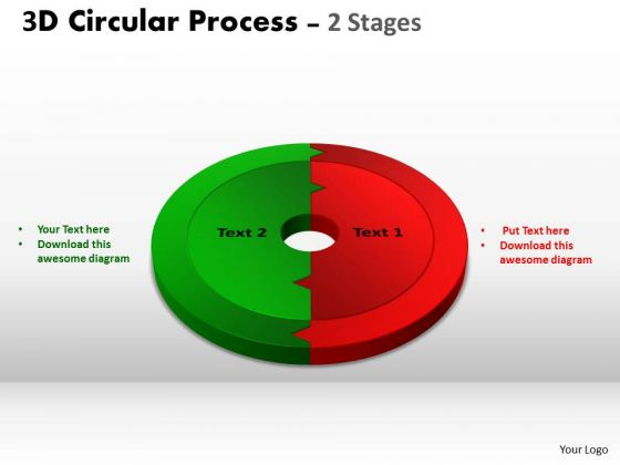 Business Framework Model 3d Circular Process 2 Stages Business Cycle Diagram