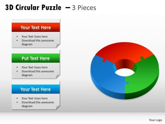 Business Framework Model 3d Circular Puzzle 3 Pieces Business Diagram
