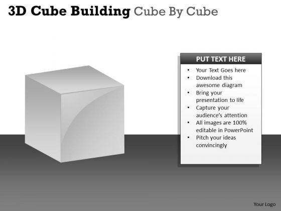 Business Framework Model 3d Cube Building Cube By Cube Business Diagram