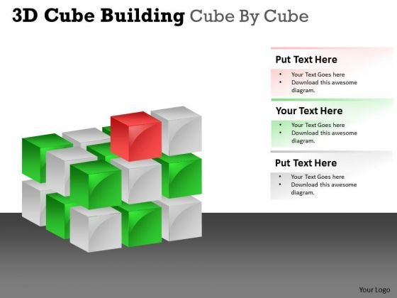 Business Framework Model 3d Cube Building Cube By Cube Marketing Diagram