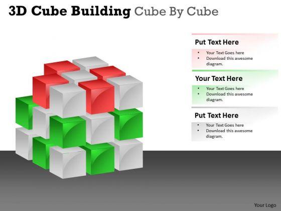 Business Framework Model 3d Cube Building Cube By Cube Sales Diagram
