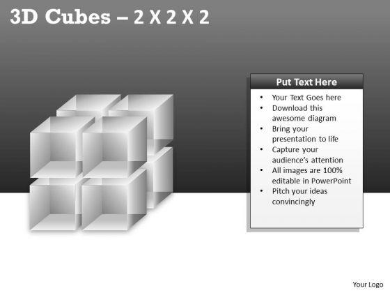Business Framework Model 3d Cubes 2x2x2 Ppt Business Diagram