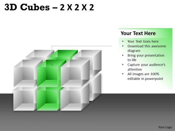 Business Framework Model 3d Cubes 2x2x3 Business Cycle Diagram