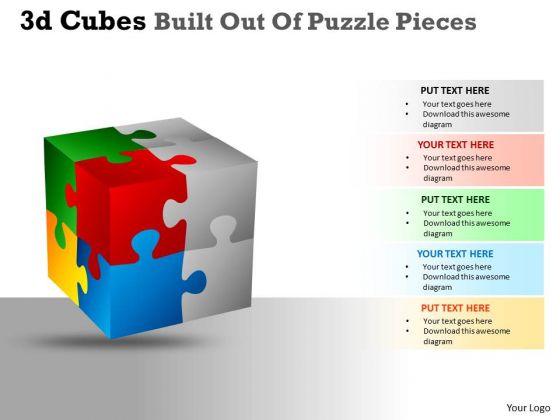 Business Framework Model 3d Cubes Built Out Of Puzzle Pieces Business Diagram