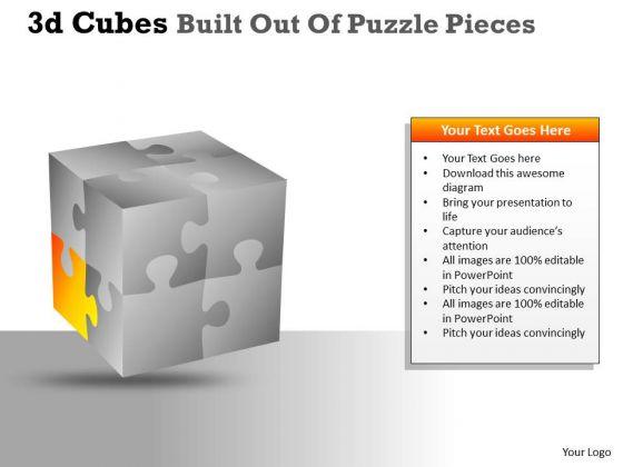 Business Framework Model 3d Cubes Built Out Of Puzzle Pieces Marketing Diagram