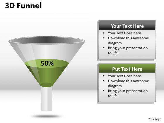 Business Framework Model 3d Funnel Diagram Representing Percentage Strategy Diagram