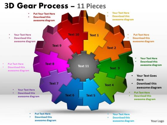Business Framework Model 3d Gear Process 11 Pieces Strategic Management