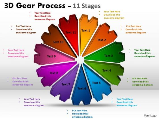 Business Framework Model 3d Gear Process 11 Stages Strategic Management