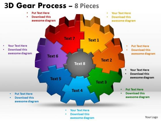 Business Framework Model 3d Gear Process 8 Pieces Consulting Diagram