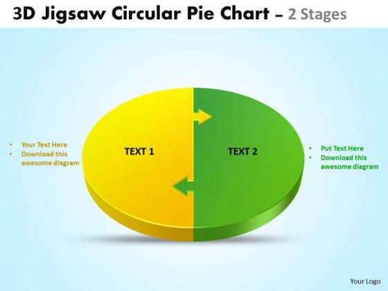 Business Framework Model 3d Jigsaw Circular Pie Chart 2 Stages Style 4 PowerPoint Marketing Diagram