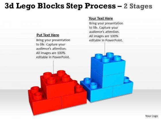 Business Framework Model 3d Lego Blocks Step Process 2 Stages Marketing Diagram