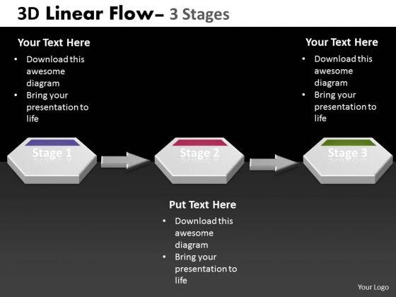 Business Framework Model 3d Linear Flow 3 Stages Strategic Management Consulting Diagram