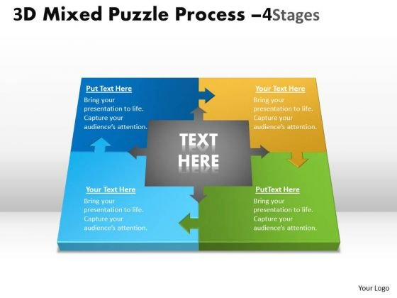 Business Framework Model 3d Mixed Puzzle Process 4 Consulting Diagram