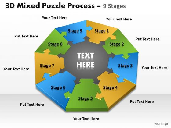 Business Framework Model 3d Mixed Puzzle Process 9 Consulting Diagram
