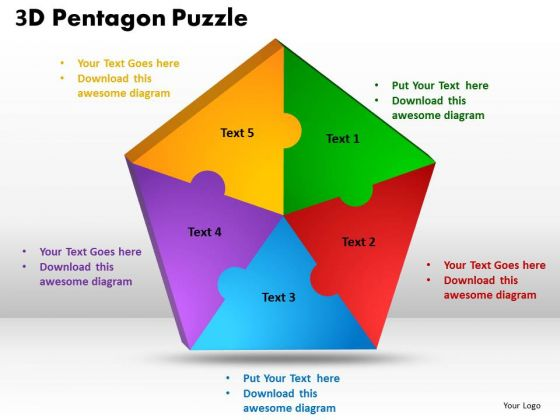 Business Framework Model 3d Pentagon Puzzle Process Business Cycle Diagram