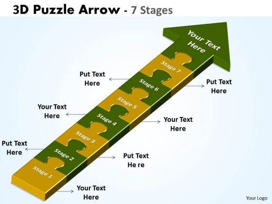 Business Framework Model 3d Puzzle Arrow 7 Stages Sales Diagram