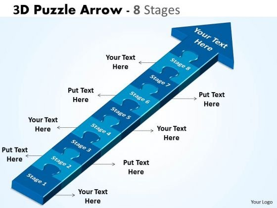 Business Framework Model 3d Puzzle Arrow 8 Stages Business Diagram