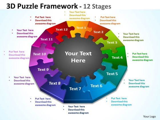 Business Framework Model 3d Puzzle Framework 12 Stages Business Diagram