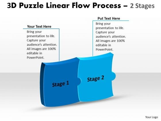 Business Framework Model 3d Puzzle Linear Flow Process 2 Stages Business Diagram