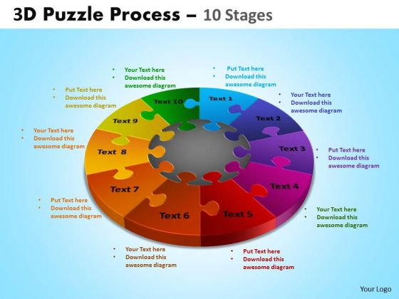 Business Framework Model 3d Puzzle Process 10 Stages Business Cycle Diagram