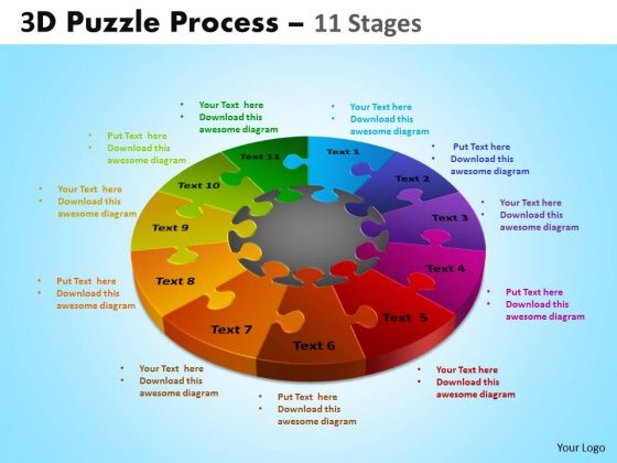 Business Framework Model 3d Puzzle Process Diagram 11 Stages Business Diagram