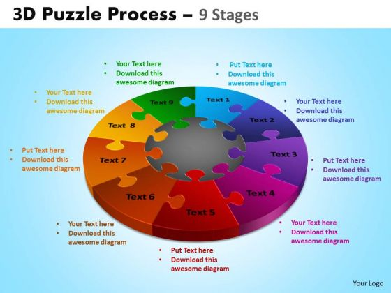 Business Framework Model 3d Puzzle Process Diagram 9 Stages Business Diagram
