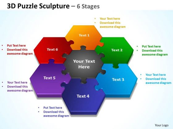 Business Framework Model 3d Puzzle Sculpture 6 Stages Consulting Diagram
