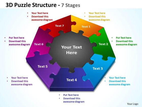 Business Framework Model 3d Puzzle Structure 7 Stages Strategy Diagram