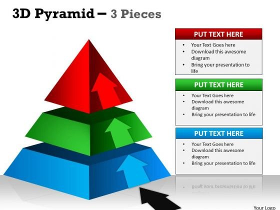 Business Framework Model 3d Pyramid 3 Individual Stages Business Diagram