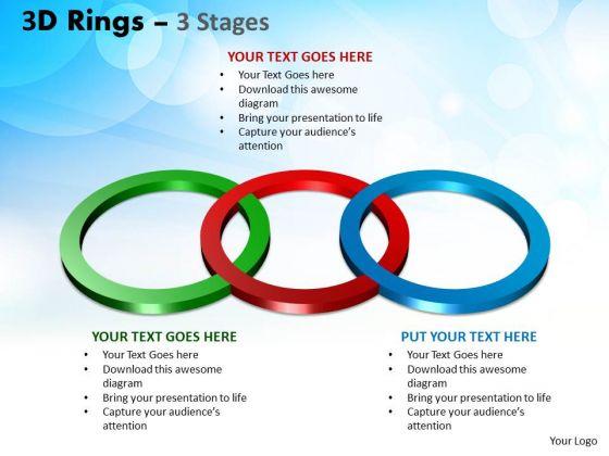 Business Framework Model 3d Rings 3 Stages Business Diagram