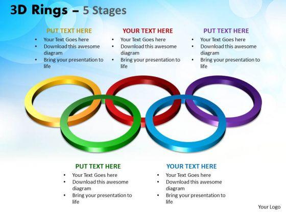 Business Framework Model 3d Rings 5 Stages Business Diagram