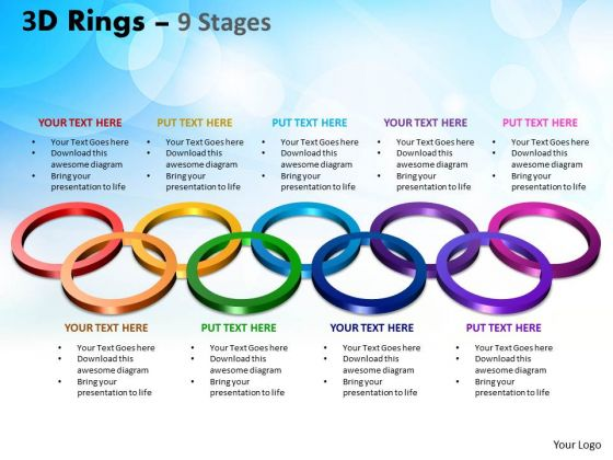 Business Framework Model 3d Rings 9 Stages Business Diagram