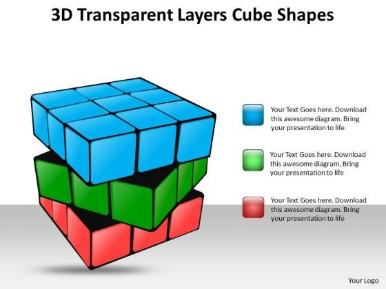 Business Framework Model 3d Transparent Layers Cube Shapes Consulting Diagram