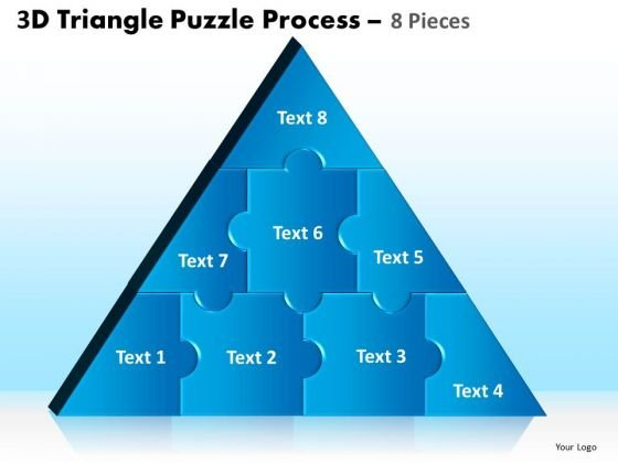Business Framework Model 3d Triangle Puzzle Process 8 Pieces Sales Diagram