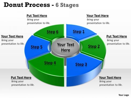 Business Framework Model 6 Stages Pie Donut Chart Business Statistics Sales Diagram