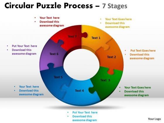 Business Framework Model 7 Components Diagram Circular Puzzle Process Sales Diagram