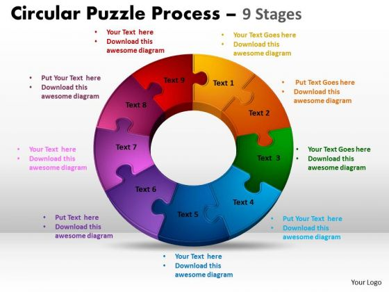 Business Framework Model 9 Stages Circular Puzzle Process Marketing Diagram