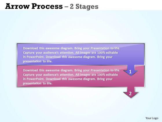 Business Framework Model Arrow Process 2 Stages Sales Diagram