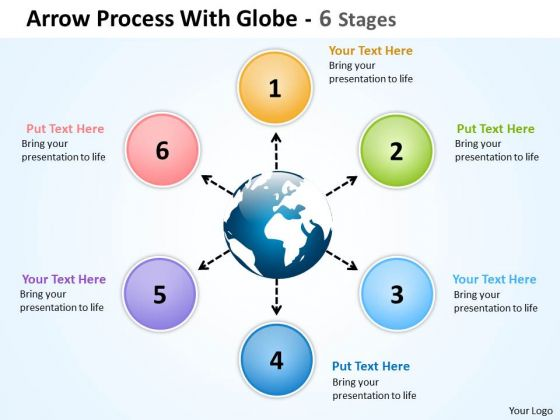 Business Framework Model Arrow Process With Globe 6 Stages Marketing Diagram