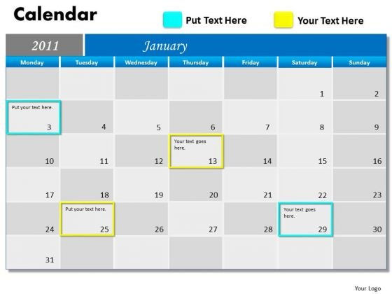 Business Framework Model Blue Calendar 2011 Marketing Diagram