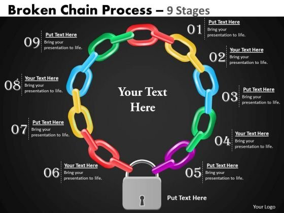 Business Framework Model Broken Chain Process 9 Stages Business Diagram