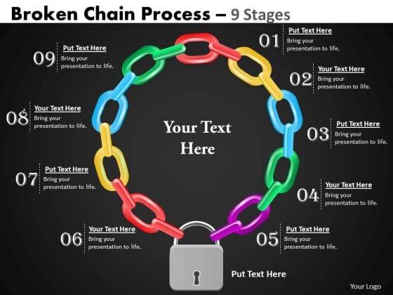 Business Framework Model Broken Chain Process 9 Stages Business Diagram